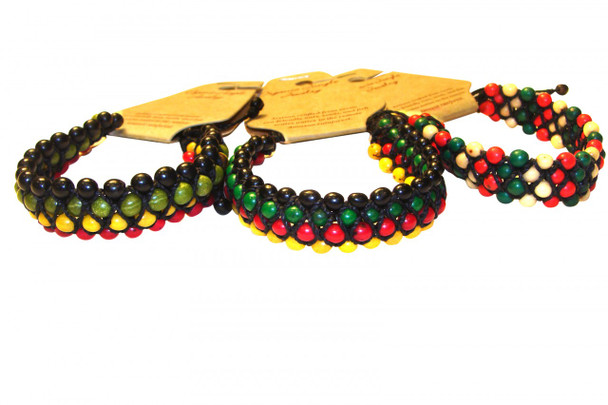 Acai Bracelets Triple Stranded Amazon Multicolored Seeds from Peru