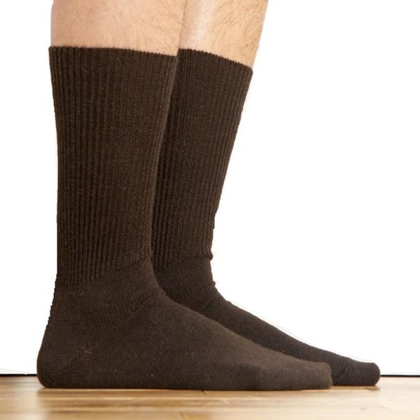 Alpaca Knit Crew Socks Brown