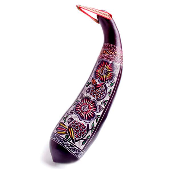 "Color Hand Dyed Floral Carved Gourd Rainstick 12"""