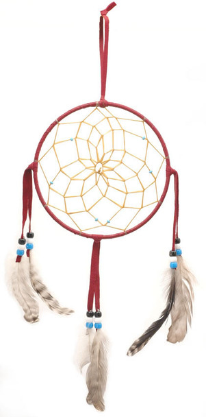 """Dream Catcher 5"""" Multicolored Assortment of Handcrafted Leather with Feather Ornaments"""