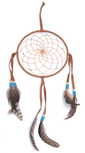 """Dream Catcher 6"""" Assorted Color Leather and Feathers Handmade"""