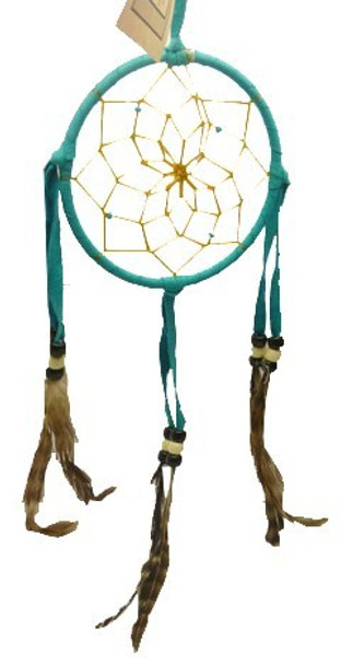 """3"""" Dream Catcher Leather Hand Made Traditional Ornament"""