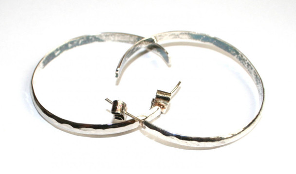 Artisan Made Earring Hoops in Hammered Alpaca Silver