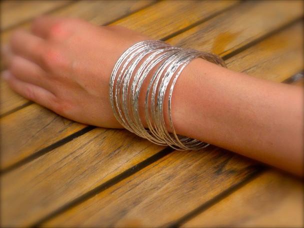 """Hoop Bracelets Hand Hammered 8"""" Indiviual"""