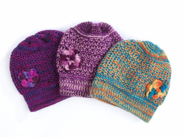 Alpaca Knit Melange Beanie Child Size with Crocheted Flower