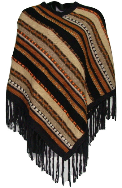 Adult 100% Alpaca Bands and Striped Woven Poncho  Assorted Colors