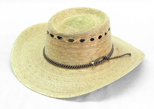 Shady Straw Palm Hat with Tall Crown Vented Adjustable Size