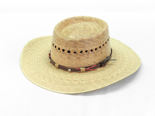 Bailey Straw Hat with Eyelets and Adorned Band