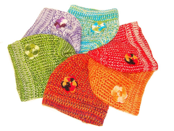 Adult Alpaca Knit Chic Luxe Knit of Baby Alpaca  with Crocheted Flower Accent