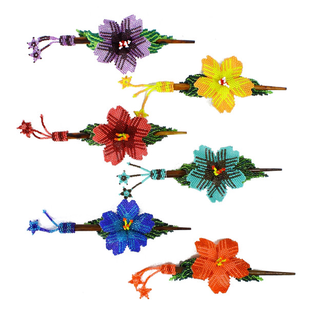 Clip French Hair Barrette Accessories Glass Beaded Flower and Leaf Pattern