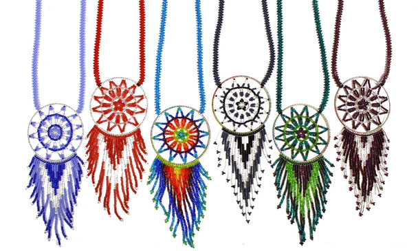 "Dream Catcher Glass Beaded with 36"" Strands Multicolored Hand Made"
