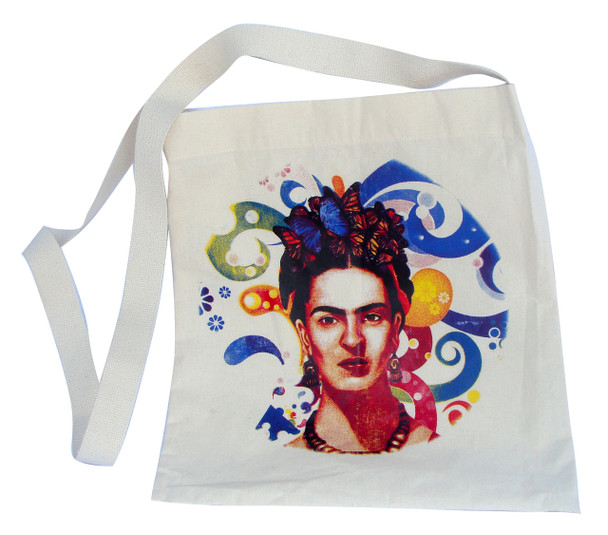 """Frida Kahlo Butterflies and Floral Swirls Canvas Tote 14"""" x 16"""" with 30"""" Handle Strap"""