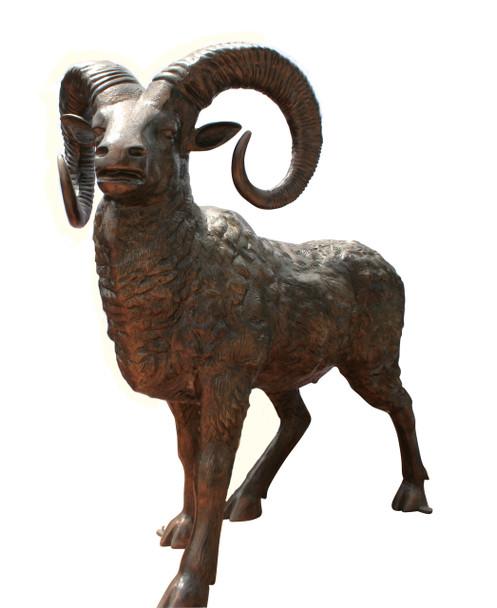 Large Bighorn Ram Metal Garden Statue L-72″ x W-40″ x H-70″