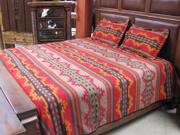 Inca Patterns Bedspread Queen Size Reversible Cotton/Acrylic Blend Made in Peru