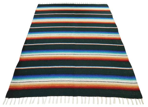 Sarape Cotton Heavy Weave Blanket Green Striped Mexico Premium Quality