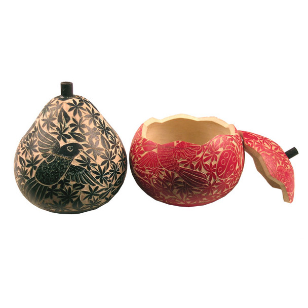 """Gourd Box 4-5"""" Large Relief Carving Wild Life Nature Color Assortment"""