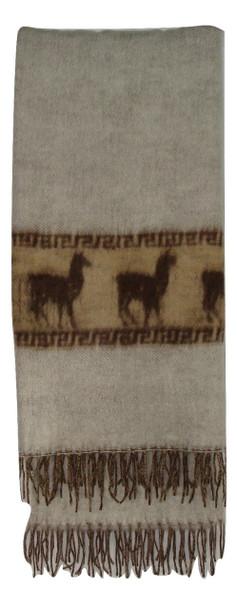 Blanket Alpaca White w/ Alpacas Across Two Tone