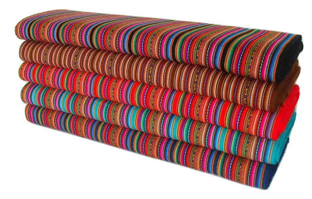 "Red Manta Aguayo Fabric Loomed 48"" Wide rolls are sold by the yard- Minimum 1 Yard"