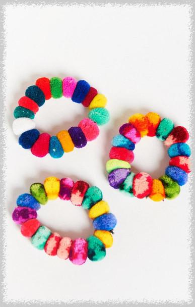 Pompom Scrunchies or Bracelets Colorful Elastic - Peruvian Textiles