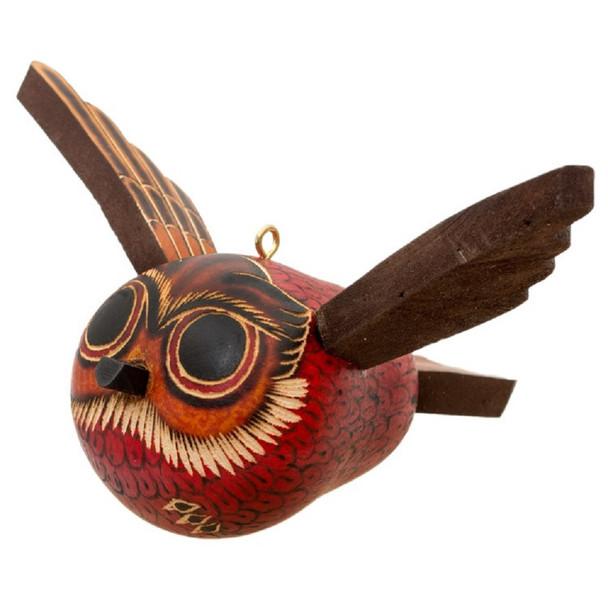 "Hand Carved Gourd Flying Owl Carved Ornament 4"" Peru"