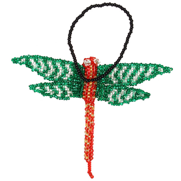 Dragonfly Christmas Ornament Guatemala Glass Beads Holiday Tree decor