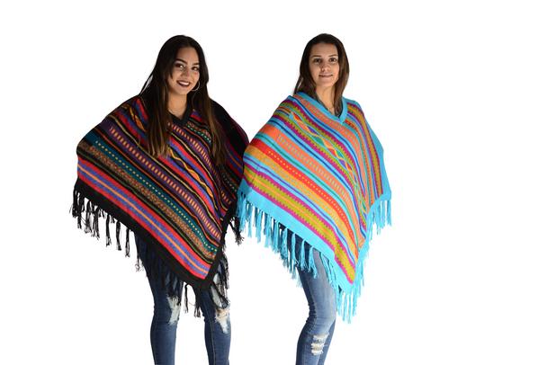 Fine Knit Bands and Waves Diagonal Stripes Alpaca Wool Poncho V Neck