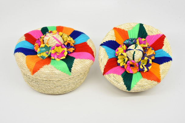 Tortilla Basket Floral Star Straw Palm Handmade Mexico Party Supply