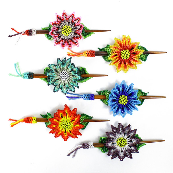 Daisy Stick Hair Barrette Accessories Glass Beaded Flower and Leaf Pattern