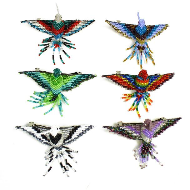 Hummingbird Barrette Glass Beads Guatemala Artisan Made Assortment