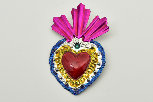 Flaming Heart Mexican punched tin ornament handmade in Oaxaca