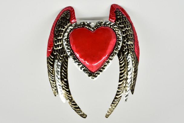 Heart with Angel Wings Mexican Tin Ornament