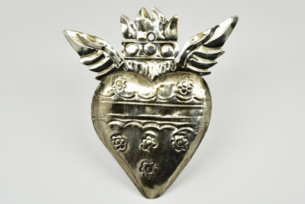 Tin Heart with Wings and Crown Ornament Silver Color