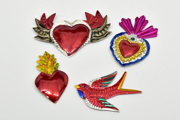 Milagros Charms - Tin Painted Sacred Heart Ornaments - Mexican Folk Art Decor