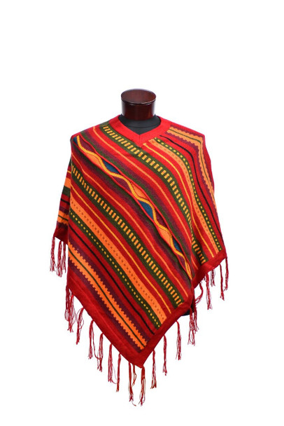 Adult 100% Alpaca Knit Striped Waves Poncho Assorted Colors