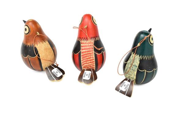 Gourd Sitting Pigeon Multicolored Bird Ornament Hand carved Peru Naturee