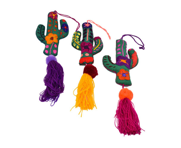Mexican Christmas Ornaments Felt Cactus Hand Embroidered Pompoms