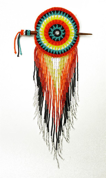 """Large Rosette Beaded Barrette Multicolored Circle with Stick 10"""""""