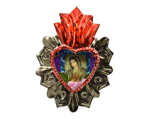 """Nicho Hand-Punched Heart Tin Ornament Hand Painted 3"""" x 4"""" Oaxaca"""