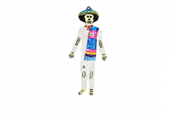 "Day of the Dead Tin Skeleton Plaque Wall Ornaments 7"" Painted Assorted Mexican Folk Art"