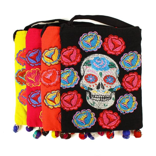 Day of the Dead Sugar Skull Multicolored Floral Embroidered Stitch Pom Tassel Tote