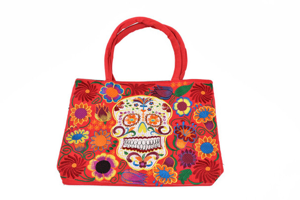 Day of the Dead Sugar Skull Large Motif Embroidered Stitch Clutch Tote