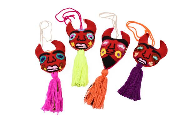 Embroidered Felt Devil Mexican Oaxaca Tassel Ornament Pom Pom Embellishment