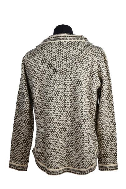 Alpaca Zip Up Hooded Sweater Knit Super Warm Unisex Chacana Inca Pattern