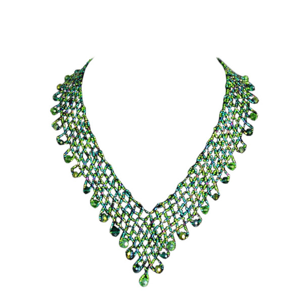 Green Iris Iridescent V Neck Crystals and Glass Beads Lola Necklace