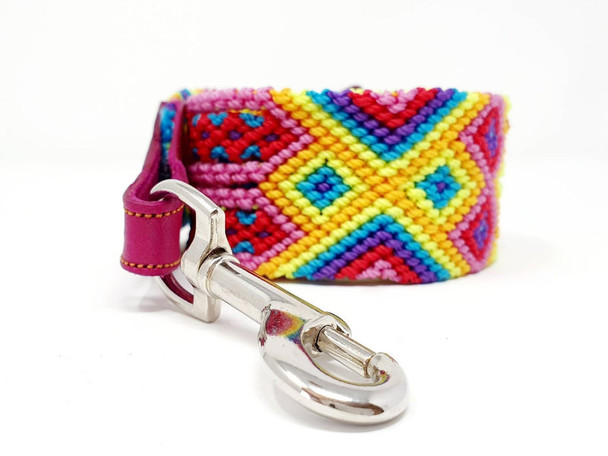 """2"""" Thick Leather and Macramé Embroidery Leash 44"""" Long"""