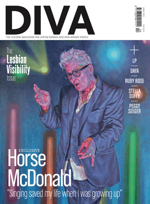 "We're so obsessed with Roxana Halls' painting of pop icon, Horse McDonald, we've only gone and put it on the cover of our Lesbian Visibility Issue! This stunning picture can also be spotted hanging on the walls of the Scottish National Portrait Gallery. Pretty swanky, eh? To celebrate this landmark moment for LGBTQI representation, DIVA editor-in-chief Carrie Lyell had a DMC with the groundbreaking singer. Grab your copy of this month's mag to read what Horse had to say about visibility and finding her voice.   Also in this issue…  Ruby Rose reveals what it's really like being Hollywood's number one lesbian heartthrob  Daya: ""If I'm in love, I'm going to talk about it""  Singer-songwriter LP opens up about their forthcoming album  Why is bisexuality so hard to write about?   Stella Duffy: ""I'm tired of our queerness being a plot point""  The ultimate guide to lesbian erotica  PLUS: Lez/bi problem page, Bodies In Lockdown and much, much more!"