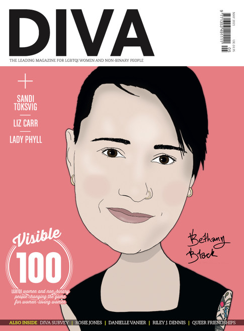"Out just in time for Lesbian Visibility Week, this extra special issue of DIVA boasts not one, not two, but four iconic cover stars, lovingly illustrated by Kate Holderness. Choose your fave or collect them all! Pre-order this version to secure your limited edition copy of DIVA with the amazing actor and comedian, Bethany Black, on the cover.  Also in this issue...  The Visible 100: LGBTQI women and non-binary people changing the game for women-loving women  DIVA Survey 2021: The results you need to read  Rosie Jones: ""I hope that people will watch and go, 'If Rosie can do it, I can do it'""  Dear chosen fam: A love letter to queer friendships  Danielle Vanier talks coming out in her 30s and finding her forever love  The porn report: We investigate the pandemic porn boom and reveal the best hot, ethical, queer smut  Riley J. Dennis on the life-changing magic of trans lesbian visibility  PLUS: Staycations, sexy bits and so much more!  PRE-ORDER YOUR COPY NOW!"