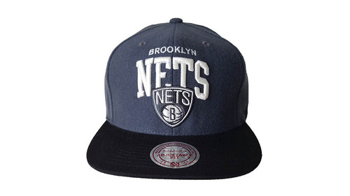 Mitchell & Ness Brooklyn Nets Grey Black Felt Snapback