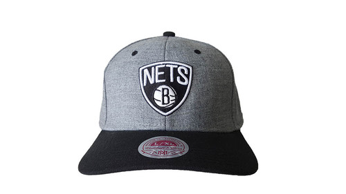Mitchell & Ness Brooklyn Nets Grey/Black Woven Fitted L/XL Stretch