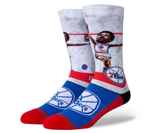 Stance BIG Head NBA Dr J Julius Erving Philly 76ers Socks